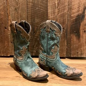 Vintage Turquoise Leather Caborca Boots